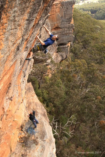 Mike Richter and Adam Bramwell climbing on Mighty Hermaphrodite, 22, Small Pox Wall, Mt Boyce, Blackheath